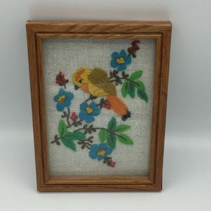 Embroidered bird & flowers picture frame wall art